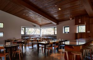 Dining area in the restaurant and bar at Astra in Falls Creek