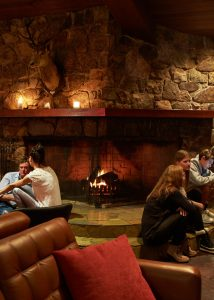 Fireplace in the restaurant and bar at Astra in Falls Creek