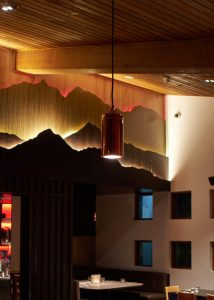 Redesigned lighting at the restaurant and bar at Astra in Falls Creek